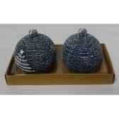 2 bougies boules motif sapin 6cm bleu peha c10370