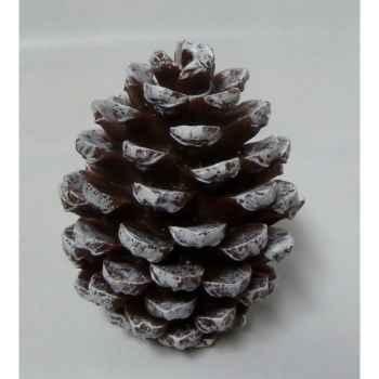 Bougie pomme de pin 11cm blanc/marron Peha -CL-10470