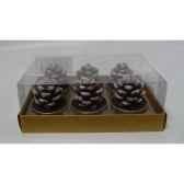6 bougie chauffe plat pomme de pin maron peha c10480