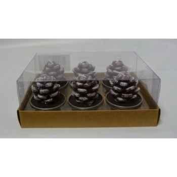 6 bougie chauffe plat pomme de pin maron Peha -CL-10480