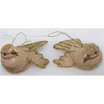 Fig à susp oiseau 9,5cm set/2 champagne Peha -TR-13793