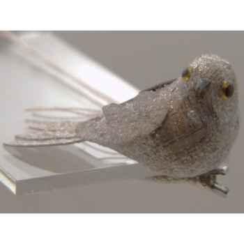 Oiseau sur clip 7cm marron Peha -TR-23565