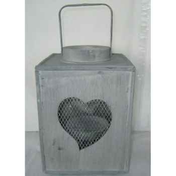 Lanterne ac coeur 20x29,5cm gris Peha -TR-26620