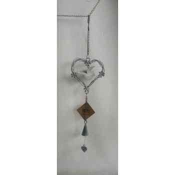 Fig a susp coeur 40cm gris Peha -TR-30120