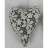 coeur en dentelle a susp 22cm blanc gris peha tr 34357