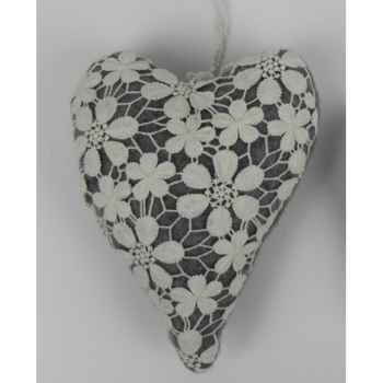 Coeur en dentelle à susp 22cm blanc/gris Peha -TR-34357
