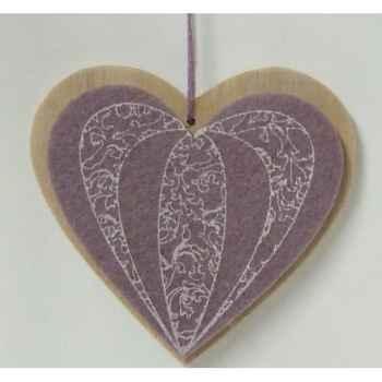 Fig à susp coeur violet 9,5cm Peha -TR-35815