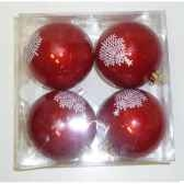 4 boules 8cm rouge blanc deco peha ps 72215