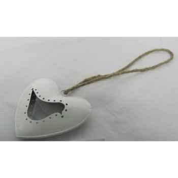 Fig à susp coeur av oiseau 15cm blanc Peha -TR-24277