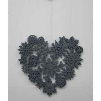 Fig a susp coeur 13,5cm gris Peha -TR-29265