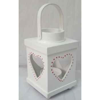 Lanterne bois 19cm blanc Peha -TR-29495