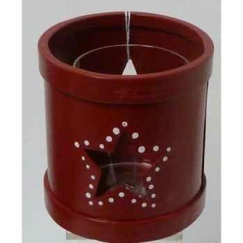 Bougeoir avec verre 11cm rouge Peha -TR-34330