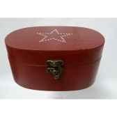 boite en bois motif etoile 19cm rouge peha tr 34335