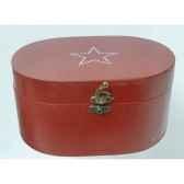 boite en bois motif etoile 19cm rouge peha tr 34340