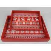 2 plateaux motif cerf rouge blanc peha tr 34364