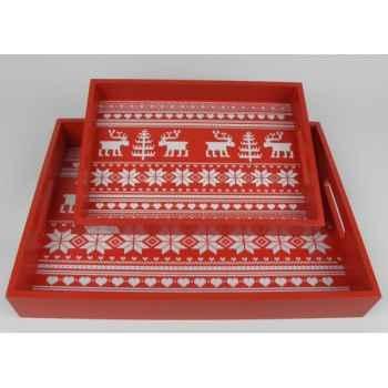 2 plateaux motif cerf rouge / blanc Peha -TR-34364