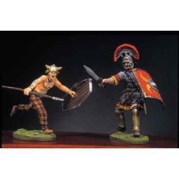 Figurine - Soldat romain et barbare en train de lutter  III - RA-016