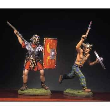Figurine - Soldat romain et barbare en train de lutter  IV - RA-017