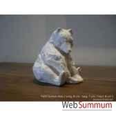 petit ourson assis en platre borome sculptures oursonassis