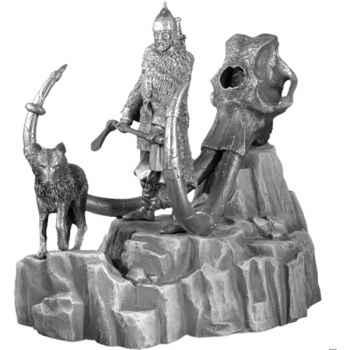 Figurines étains Chef de guerre vicking avec Tumulus et un crâne de mammouth -VEV