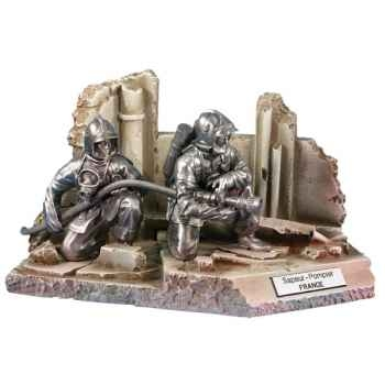 Figurines étains Sapeur pompier volontaire en binome-France -FW018
