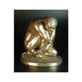 figurine bronze homme squatting body talk wu70931