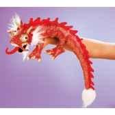marionnette peluche petit dragon rouge 2357
