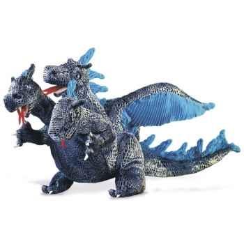 Marionnette peluche, Dragon à trois têtes, bleu -2387