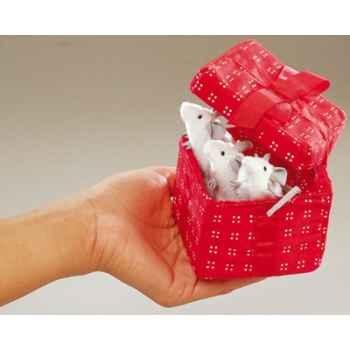 Marionnette peluche, Souriceaux dans une boîte rouge -2218