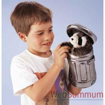 Marionnette peluche, Raton laveur dans une poubelle -2321