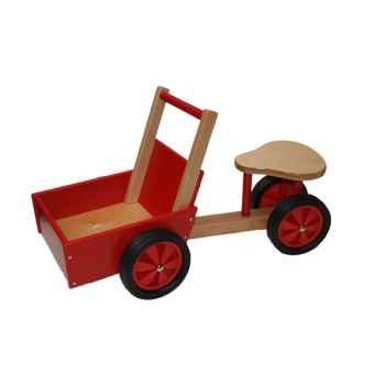 Triporteur rouge et naturel en bois - 1405
