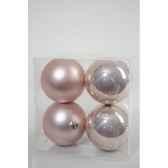 boules plastique uni brilmat 100 mm rose poudre kaemingk 22215