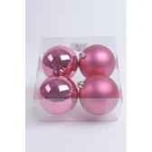 boules plastique uni brilmat 100 mm rose kaemingk 22217