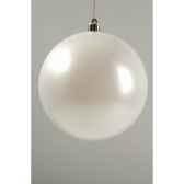 boule plastique uni mat blanc d hiver 140 mm kaemingk 22274