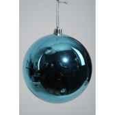 boule plastique uni brillant bleu topaze 140 mm kaemingk 22306
