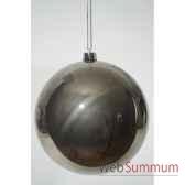 boule plastique uni brillant gris argile 140 mm kaemingk 22314