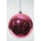 boule plastique uni brillant rose 140 mm kaemingk 22321