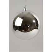 boule plastique uni brillant argent 200 mm kaemingk 22416