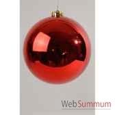 boule plastique uni brillant rouge noe200 mm kaemingk 22417