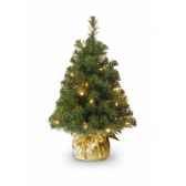 sapin noble table tree gold bag with 15 led batt h61cm van der gucht 31ng2b15l