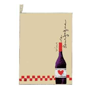 Torchon écru prudent bouteille damier -2472beaujolais