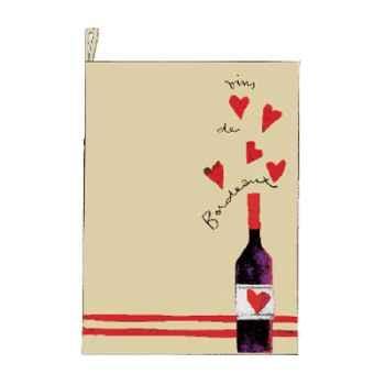 Torchon écru prudent bouteille coeur -2473beaujolais