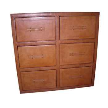 Commode 6 tiroirs en cuir SolxLuna -PN309