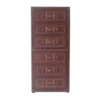 Commode haute 6 tiroirs en cuir SolxLuna -PN309P