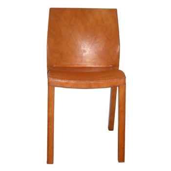 Chaise en plastique recouverte de cuir SolxLuna dos carré -PN916