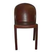 chaise en plastique recouverte de cuir solxluna dos rond pn917
