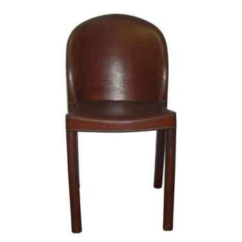 Chaise en plastique recouverte de cuir SolxLuna dos rond -PN917
