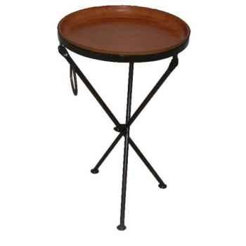 Grande table ronde en cuir SolxLuna pliable -PN9096