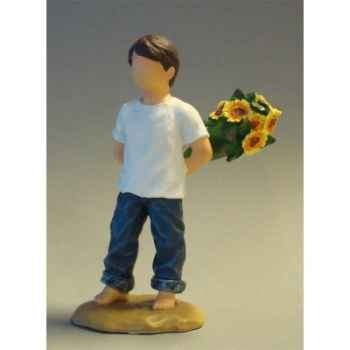 Figurine blue jeans flowers for you - bj18412