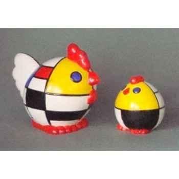 Figurine ménagerie géométrique - poules  - meg06